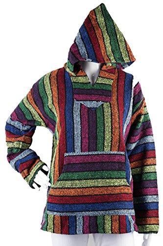 Unisex Multicolor/Rainbow Mexican Baja Hoodie Jacket (Medium)