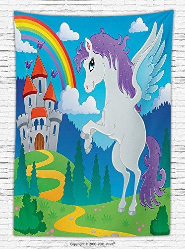 Kids Decor Fleece Throw Blanket Fantasy Myth Unicorn with Rainbow and Medieval Castle Fairy Tale Cartoon Design Throw Blanket Multicolor