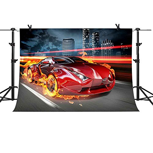 MME 10x7Ft Supercar Photography Backdrop Red Flame Ferrari Backdrop Fast Furious Background Vinyl Cotton Photo Video Studio LXME343