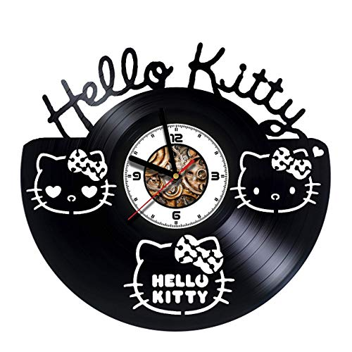 HELLO KITTY - Handmade Vinyl Wall CLock - Get unique gifts presents for birthday, Christmas, anniversary - Gift ideas for boys, girls, women, adults, him and her - Unique Design