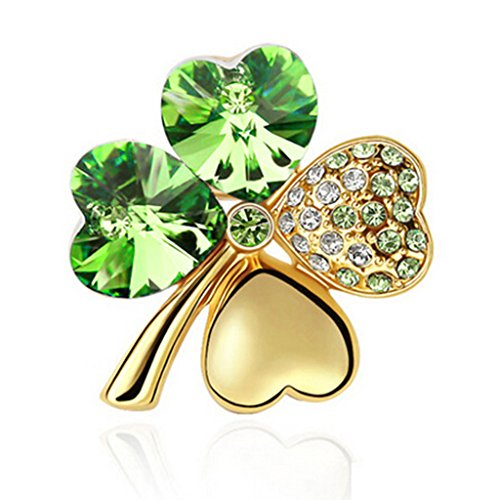 Gold Four Leaf Clover Charm (HuntGold 1X Women Girl Sweet Lucky Four Leaf Clover Shape Crystal Diamond Cloth Pin Brooch Breastpin(Gold&Green))
