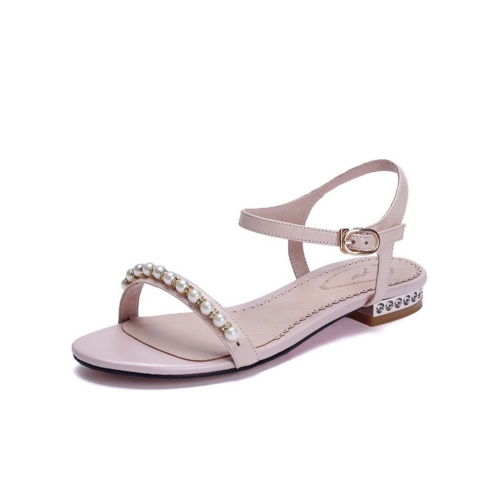 AmoonyFashion Women's Buckle Low-heels Cow Leather Solid Open-Toe Sandals B01I4GC0SQ 4.5 B(M) US|Pink