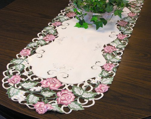 Embroidered Pink Rose Flowers Table Runner 14 By 34 Inch