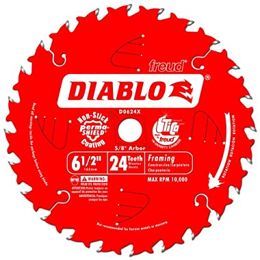 Freud D0624X Diablo 6-1/2-Inch 24-Tooth ATB Framing Saw Blade with 5/8-Inch Arbor