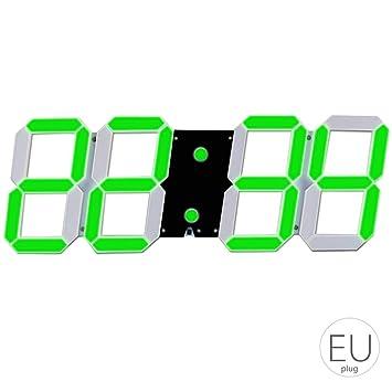 Topker El LED de Alarma Esqueleto Hueco del Reloj de Pared de múltiples Funciones de Temporizador Pantalla 24/12 Horas Reloj electrónico Digital con Control ...