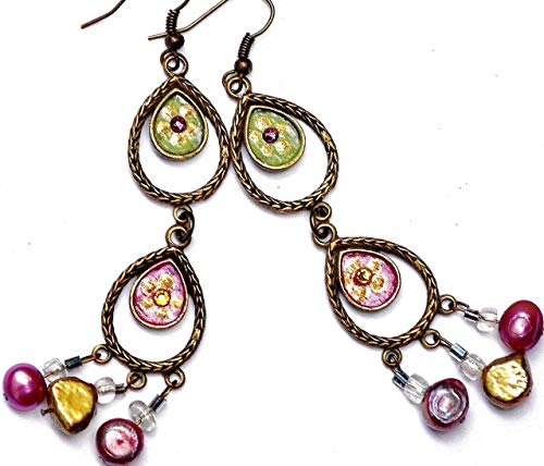 (Boho Chandelier Dangle Earrings with Swarovski Crystal Rhinestones and Pearls Bohemian Jewelry for Women)