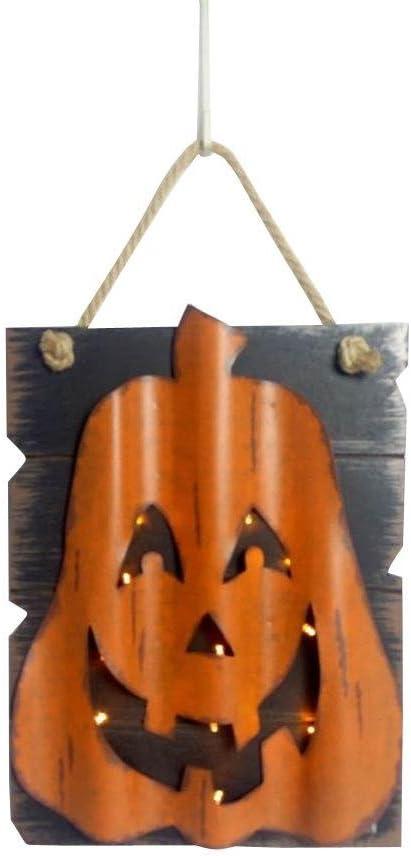 Wood Halloween Plaques Hanging Wall Decor Metal with Lights Skull or Pumpkin (Pumpkin, Orange/Black)