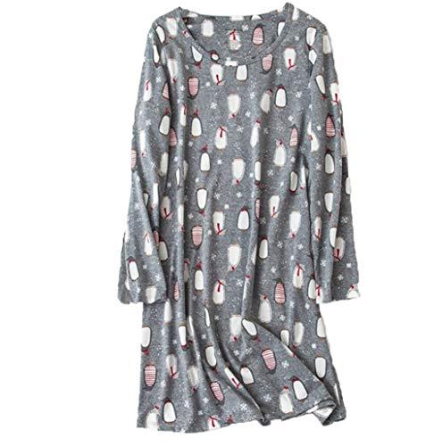 Amoy madrola Women's Nightgowns Cotton Long Sleeves Sleepwear Print Nightshirts XTSY109-Long Gray ()