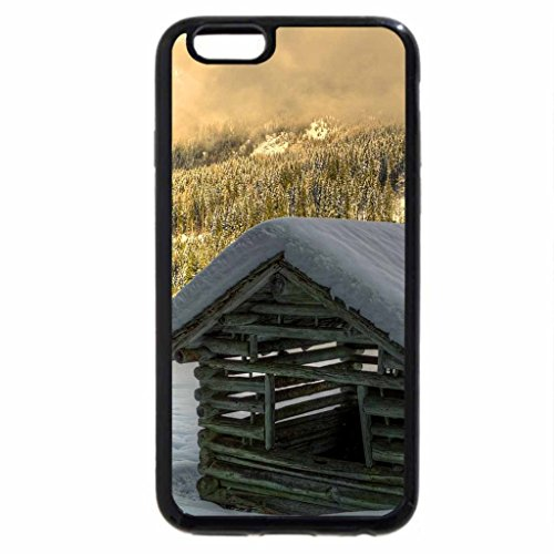 iPhone 6S / iPhone 6 Case (Black) cute little log cabin in the mountains at winter