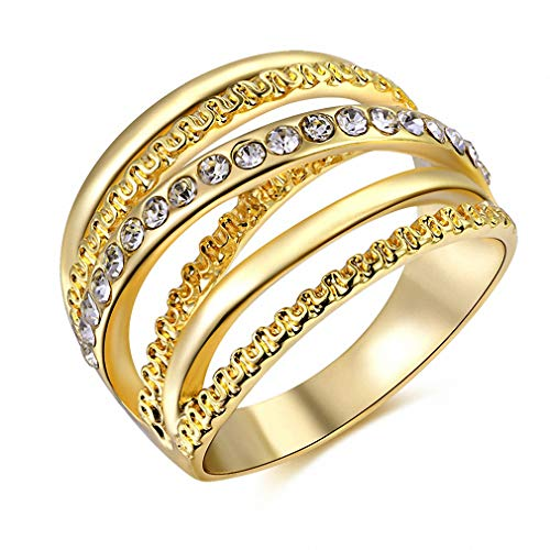 Womens Mens Women Ring Rose Gold Color Finger Engagement Rings for Women Wedding Rings Body Jewelry Size 6 7 8 9 10 Gold 7