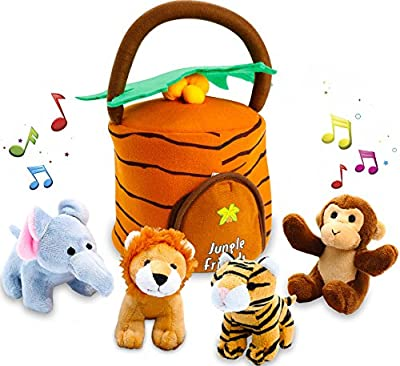 Kleeger Plush Talking Jungle Animals Toy Set (5 Pcs - Plays Sounds) with Carrier for Kids | Stuffed Monkey, Lion, Tiger & Elephant | Great Baby Shower Gift for Boys & Girls by KLEEGER that we recomend personally.