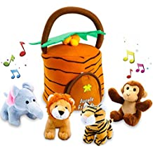 Kleeger Plush Talking Jungle Animals Toy Set (5 Pcs - Plays Sounds) with Carrier for Kids   Stuffed Monkey, Lion, Tiger & Elephant   Great Baby Shower Gift for Boys & Girls