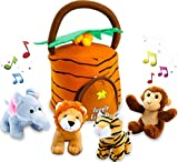 #2: Kleeger Plush Talking Jungle Animals Toy Set (5 Pcs - Plays Sounds) with Carrier for Kids | Stuffed Monkey, Lion, Tiger & Elephant | Great Baby Shower Gift for Boys & Girls