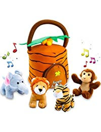 Kleeger Plush Talking Jungle Animals Toy Set (5 Pcs - Plays Sounds) with Carrier for Kids | Stuffed Monkey, Lion, Tiger & Elephant | Great Baby Shower Gift for Boys & Girls BOBEBE Online Baby Store From New York to Miami and Los Angeles
