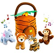 KLEEGER Plush Talking Jungle Animals Toy Set (5 Pcs - Plays Sounds) with Carrier for Kids | Stuffed Monkey, Lion, Tiger & Elephant | Great Baby Shower Gift for Boys & Girls