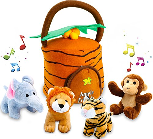 Kleeger Plush Talking Jungle Animals Toy Set (5 Pcs - Plays Sounds) with Carrier for Kids | Stuffed Monkey, Lion, Tiger & Elephant | Great Baby Shower Gift for Boys & Girls (Gift Baskets To Go)