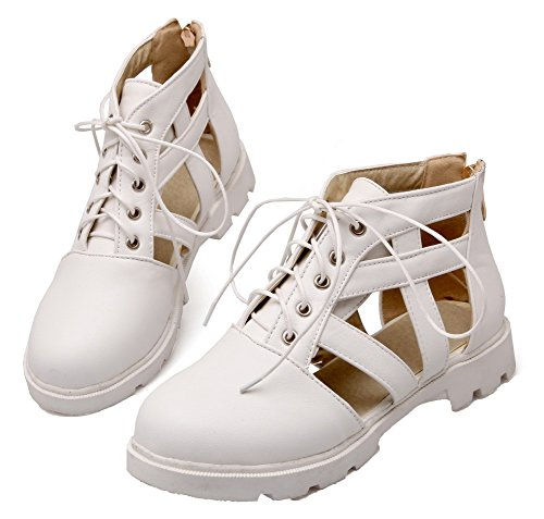AgooLar Damen Rund Zehe Niedriger Absatz PU Rein Schnüren Pumps Schuhe Weiß