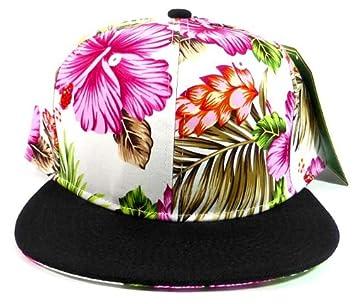 Flores snapback sombreros gorras moda - rosa hawaiano flores | negro: Amazon.es: Deportes y aire libre