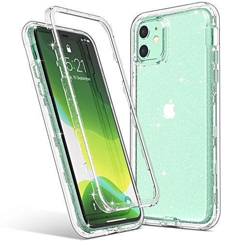 ULAK iPhone 11 Case, Clear Glitter Protective Heavy Duty Shockproof Rugged Protection Case Soft TPU Bumper Phone Cover Designed Girls Women for Apple iPhone 11 6.1 inch (2019), Clear Bling Sparkle