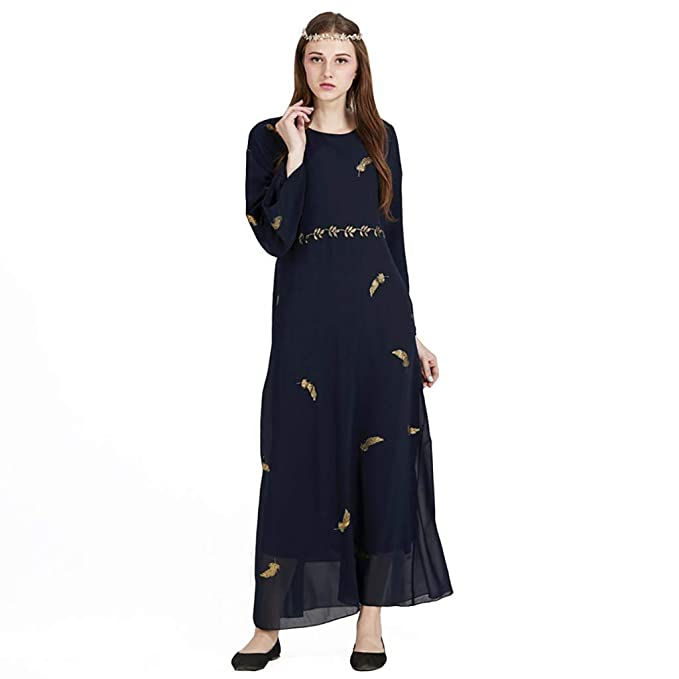 9190acd0b0 Dainzuy Womens Muslim Kaftan Abaya Maxi Dress Feathered Chiffon ...