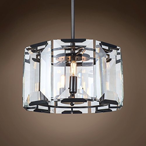 Gatsby Luminaires 701633-001 Harlow 4 Crystal Glass Chandelier Hanging Ceiling Light with LED Bulbs Included, 17