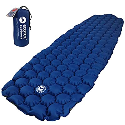 ECOTEK Outdoors Hybern8 Ultralight Inflatable Sleeping Pad Hiking Backpacking Camping - Contoured FlexCell Design - Perfect Sleeping Bags Hammocks