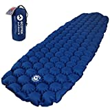 ECOTEK Outdoors Hybern8 Ultralight Inflatable Sleeping Pad Hiking Backpacking Camping - Contoured FlexCell Design - Perfect Sleeping Bags Hammocks (Ocean Blue)