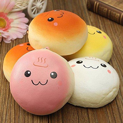 10CM Soft Smiling Hot Spring Bread Kawaii Squishy Keychain Bag Phone Charm Strap (Halloween Bunny Makeup)
