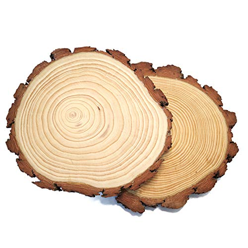 Pine Wood Slices 2 Pack, 8-9inch for Crafts Cake Stand Art Accent Table Disks Display Name Tags Sign Round (8-9inch, 2pcs)