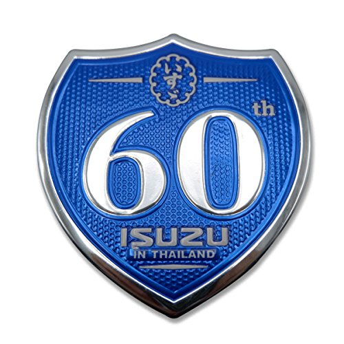 "Powerwarauto Rear Back Badge Emblem Logo""60th Isuzu"" Blue Fits Isuzu D Max Pickup Mu X Suv 2012 2013 2014 2015 2016 2018"