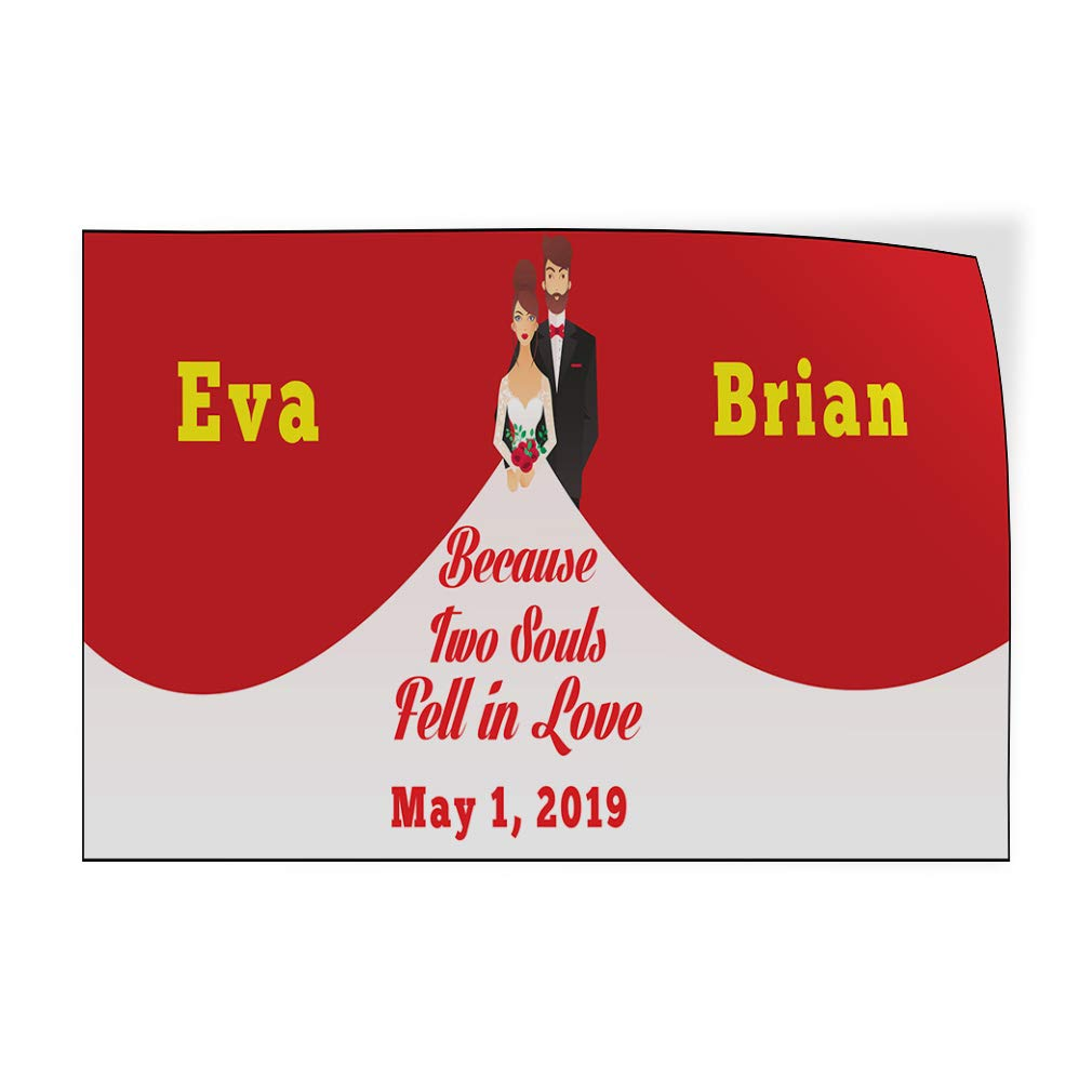 Custom Door Decals Vinyl Stickers Multiple Sizes 2 Souls Fell in Love Bride Groom Date Lifestyle Wedding Outdoor Luggage /& Bumper Stickers for Cars Red 30X20Inches Set of 10