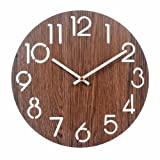 Cheap Vitaa 12 Inch Retro Wooden Wall Clock,Silent Non Ticking Decorative Wall Clock,Vintage Rustic Country Tuscan Style Round Wall Clock,Quartz Battery Operated (416)