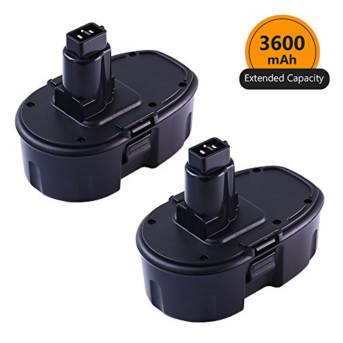 [Upgraded to 3600mAh] ENERMALL 18V 3.6Ah Ni-MH Replacement for Dewalt 18 Volt XRP Battery DC9096 DC9098 DC9099 DW9095 DW9096 DW9098 DW9099 DE9039 Cordless Power Tool - 2 Packs