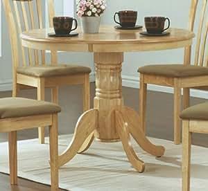 Monarch Specialties Diameter Round Pedestal Table, 40-Inch, Natural