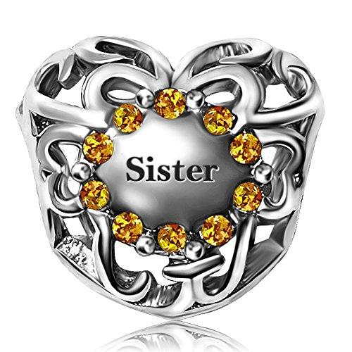 JMQJewelry Birthday Sister Heart Birthstone Charms I Love You Charm Rhinestone Beads For Bracelet