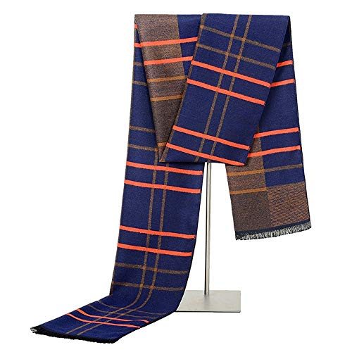 (Dig dog bone Men's Winter Fashionable Soft Colorful Striped Knit Long Scarf Silk Tassel (Color : Tibetan Camel))