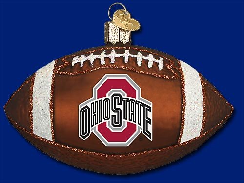 Ohio State University Football Glass Blown Christmas Ornament