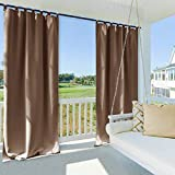 NICETOWN Outdoor Curtain Panel for Patio, Thermal Insulated Tab Top Blackout Indoor Outdoor Curtain/Drape for Living Room (1 Panel,52 by 84-Inch, Tan-Khaki)