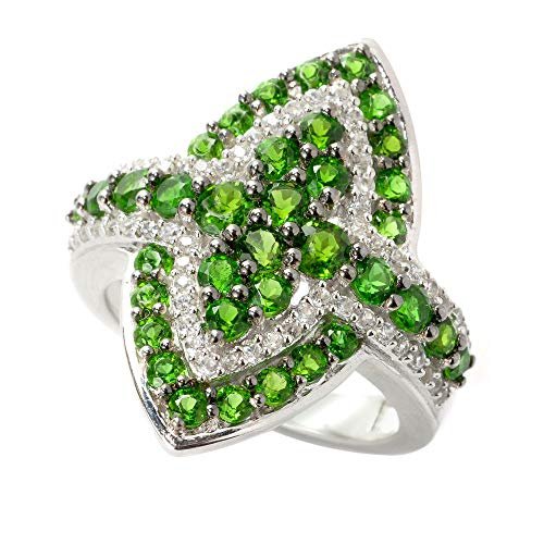 - V3 Jewelry Sterling Silver 2.20cttw Chrome Diopside and White Topaz Marquise Ring