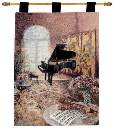 MWW Grand Piano Music Room by Lena LIU Lined Tapestry Jacquard Wall Hanging with Rod, 26x36 Multi