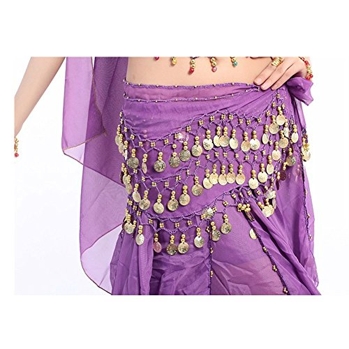 Xerhnan Belly dance belt 3 rows of 98 coins chiffon waist chain (purple) - Belly Dance Costumes London