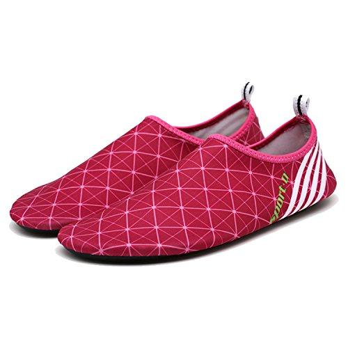 ba Messer Wasser Schuhe Mens Womens Beach Swim Schuhe Quick-Dry Aqua Socken Pool Schuhe für Surf-Wasser-Aerobic Rot und Pink