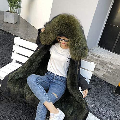 SHOUBANG Manteau Parka Veste d'hiver Dames Manteau en Cuir Noir Mode Casual Manteau Parka Épais Manteau De Fourrure Chaud Streetwear C6-X-long-5XL-bust-124cm