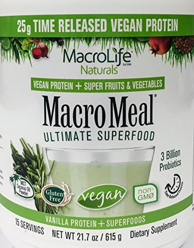MacroMeal Vegan Protein by MacroLife Naturals - Plant Based Protein Superfoods with Probiotics & MCT for Sustained Energy - Helps Increase Strength & Muscle Mass - Supports Optimal Health