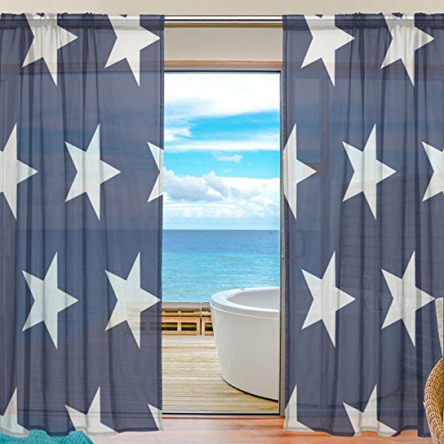 DEYYA July 4Th Independence Day American Flag Stars Bedroom Sheer Panels - Artificial Polyester Sheer Curtains/Drapes W55 X L78 for Bedroom Pack of 2 Panels