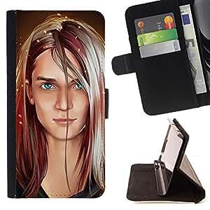 BullDog Case - FOR/Sony Xperia Z2 D6502 / - / PORTRAIT ART BLONDE BLUE EYES GIRL WOMAN /- Monedero de cuero de la PU Llevar cubierta de la caja con el ID Credit Card Slots Flip funda de cuer
