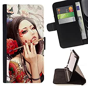 For Sony Xperia Z1 L39 Sexy Japanese Geisha Girl Tattoo Style PU Leather Case Wallet Flip Stand Flap Closure Cover