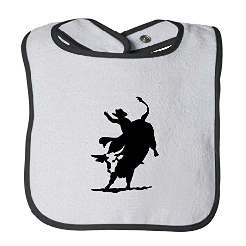 Pro Bull Rodeo - Rodeo Cowboy Bull Riding Infant Contrast Trim Terry Bib White/Black