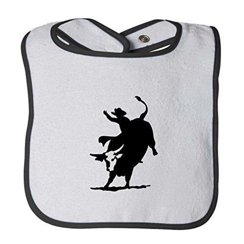 Pro Bull Rodeo - Rodeo Cowboy Bull Riding Infant Contrast Trim Terry Bib White/Black
