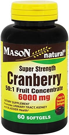 Mason Vitamins Cranberry Super Strength 50 1 Fruit Concentrate 6000mg Softgels, 60 Count